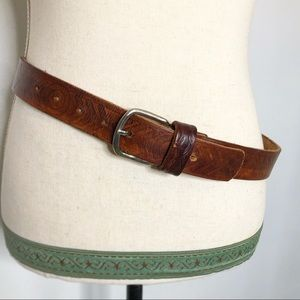 Vintage Boho Western Genuine Tooled Leather Belt M